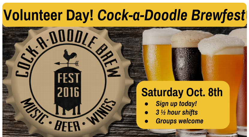Volunteer Day! Cock-a-Doodle Brew Fest to benefit Marie Wilkinson Food Pantry of Aurora, IL