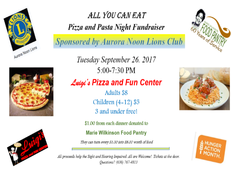 All You Can Eat Pizza and Pasta Night Fundraiser